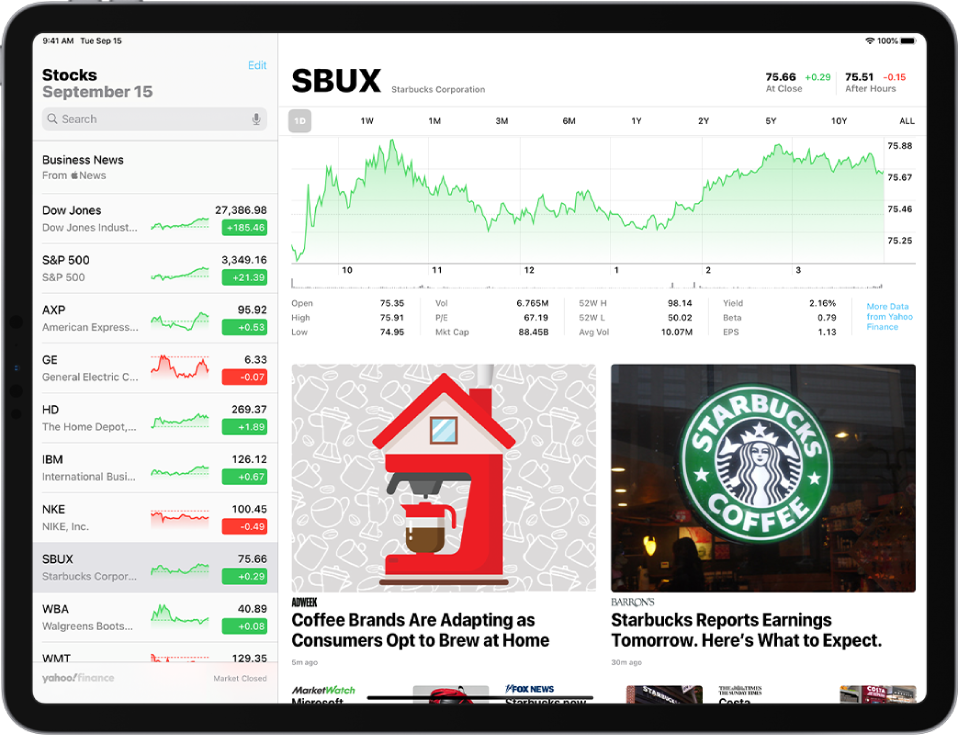 The Stocks screen in landscape orientation. The search field is in the top-left corner. Below the search field is the watchlist. A stock in the watchlist is selected. In the middle of the screen a chart shows the performance of the selected stock over the course of one year. Above the chart are buttons to display the stock performance by one day, one week, one month, three months, six months, one year, two years, five years, or ten years. Below the chart are stock details such as opening price, high, low, and market cap. Below the chart details are Apple News articles related to stock.