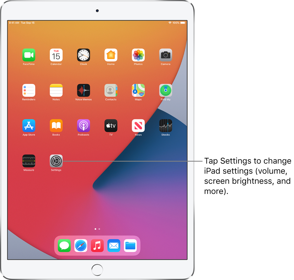 The iPad Home Screen with several app icons, including the Settings app icon, which you can tap to change your iPad sound volume, screen brightness, and more.