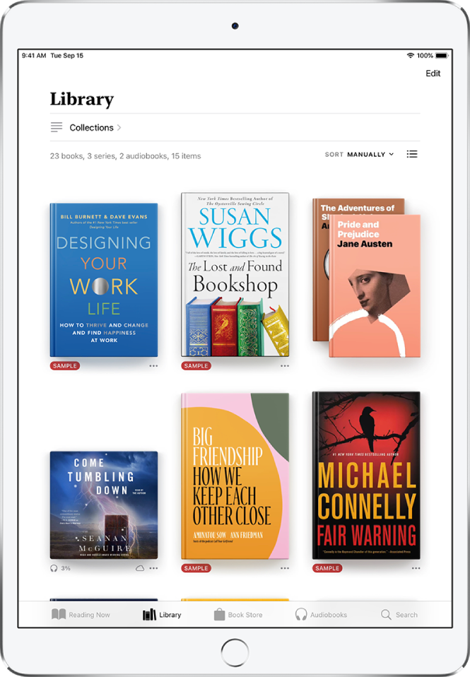 Rakenduse Books kuva Library. Ekraani ülaservas on nupp Collections ning sortimisvalikud. Valitud on sortimisvalik Recent. Ekraani keskel on kogus olevate raamatute kaaned. Ekraani allosas on (vasakult paremale) vahekaardid Reading Now, Library, Book Store, Audiobooks ja Search.