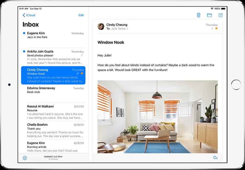 Postkastis Inbox oleva e-kirja eelvaade, kus on saatja nimi, kirja saatmise päev, teemarida ning e-kirja kaks esimest tekstirida.