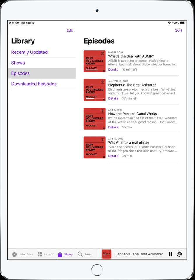Vahekaardil Library kuvatakse hiljuti värskendatud podcaste.