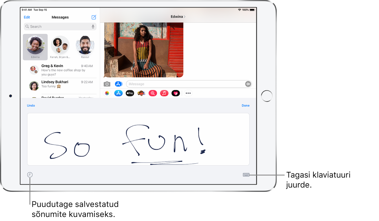Sõrmega kirjutamise kuva koos sõrmega kirjutatud sõnumiga. All vasakul on nupp salvestatud sõnumi valimiseks. All paremal on nupp Show Keyboard.