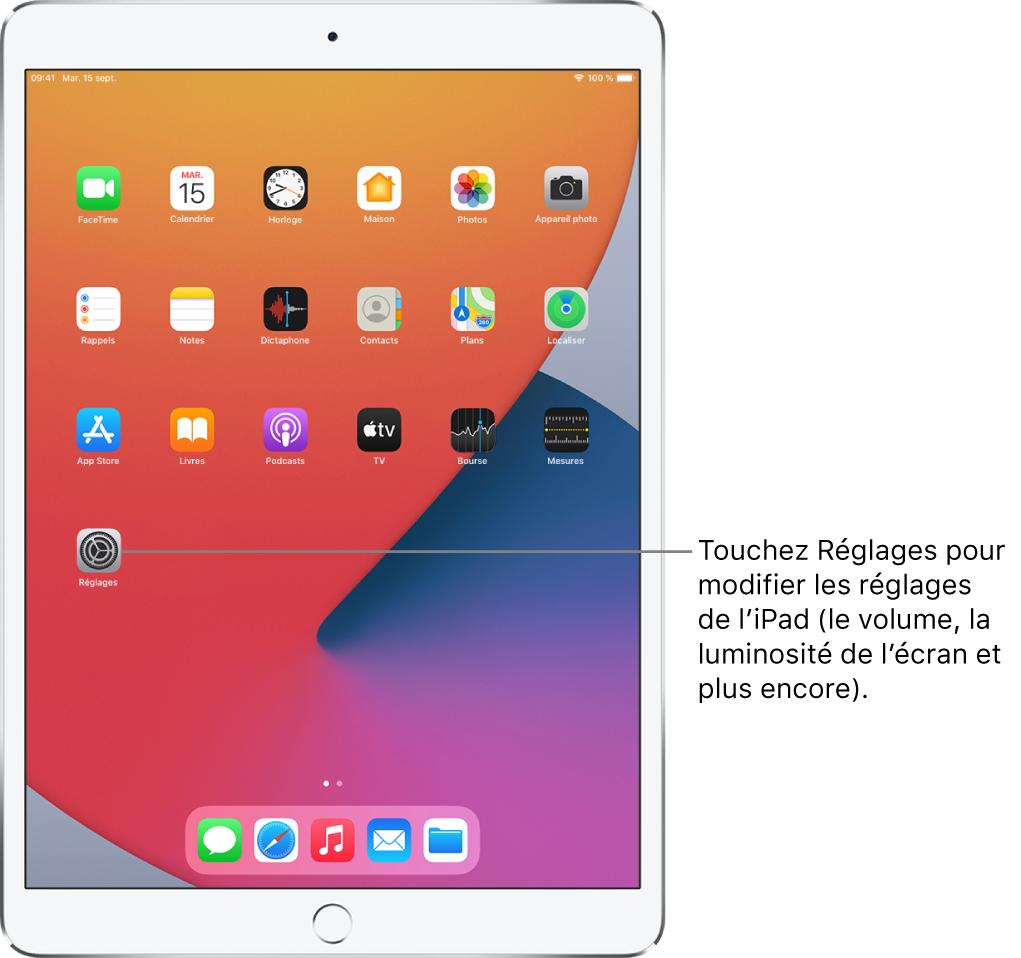 L'écran d'accueil de l'iPad avec plusieurs icônes d'app, notamment l'icône de l'appRéglages, que vous pouvez toucher pour modifier le volume, la luminosité de l'écran et d'autres réglages de votre iPad.
