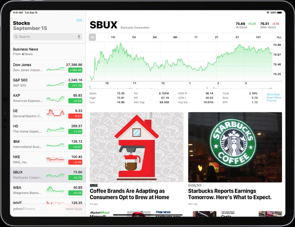 """""""Stocks"""" ekranas horizontalioje padėtyje. Paieškos laukas yra viršutiniame kairiajame kampe. Po paieškos lauku yra stebėjimo sąrašas. Pasirinktos akcijos iš stebėjimo sąrašo. Ekrano viduryje lentelėje pateikiama informacija apie pasirinktų akcijų apyvartą per metus. Virš lentelės yra mygtukai, skirti parodyti akcijų apyvartai per vieną dieną, savaitę, mėnesį, tris mėnesius, šešis mėnesius, vienus metus, dvejus metus, penkerius metus ar dešimt metų. Lentelės apačioje yra akcijų išsami informacija, pvz., pradinė kaina, kilimas, kritimas, rinkos viršutinė riba. Dar žemiau yra """"Apple News"""" straipsniai, susiję su akcijomis."""