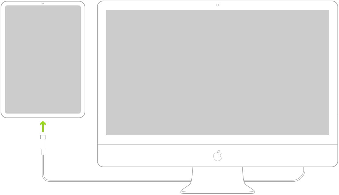 """""""iPad"""", USB-C įkrovimo laidu prijungtas prie """"Mac"""" kompiuterio."""