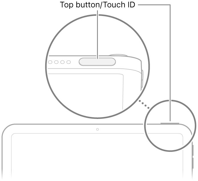 """Viršutinis mygtukas/""""Touch ID"""" """"iPad"""" viršuje."""
