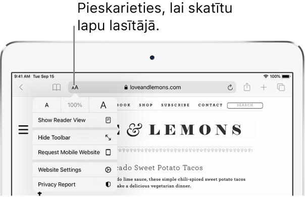 Lietotnes Safari rīkjosla ar pogu Reader pa kreisi no adreses lauka.