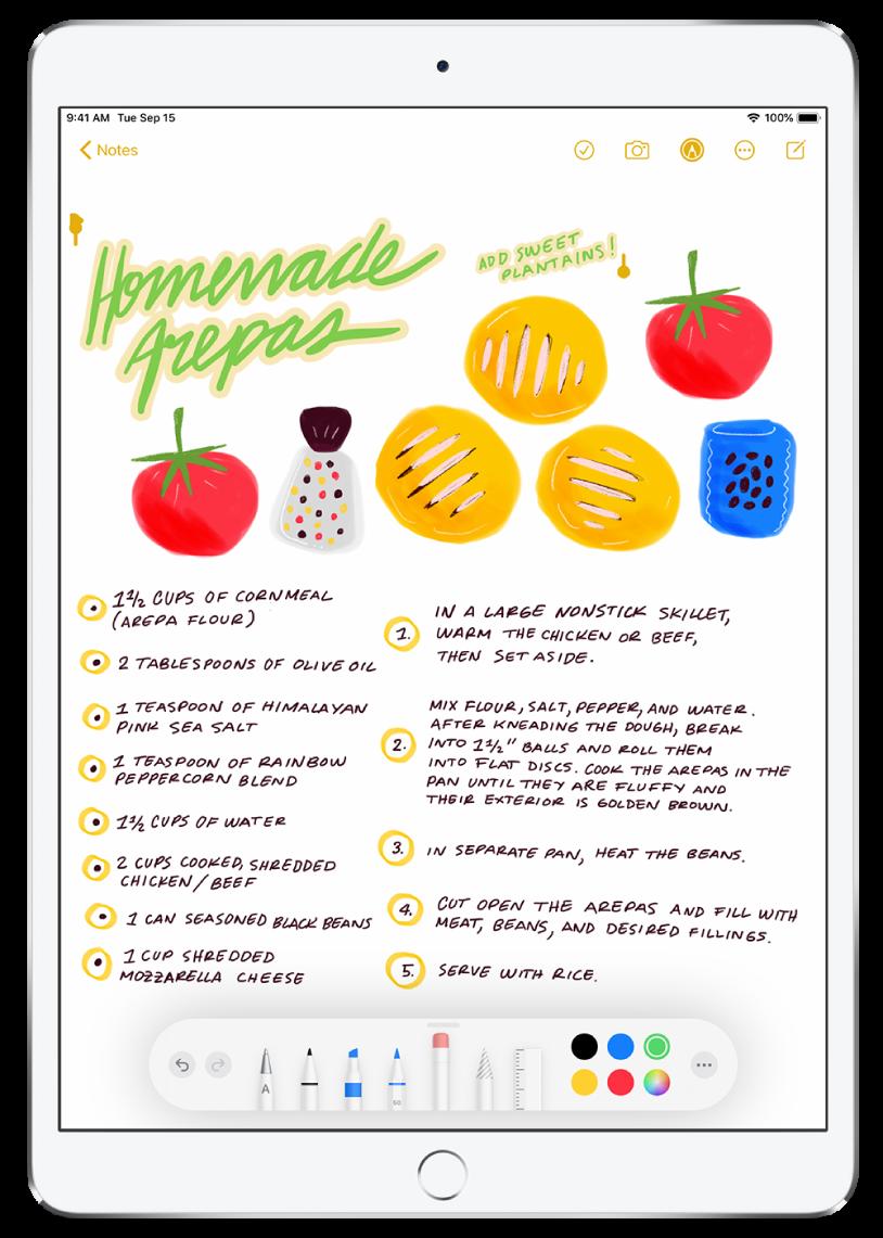 Zīmējums un ar roku rakstīta recepte lietotnes Notes piezīmē. Ekrāna augšā ir atlasīts receptes nosaukums. Ekrāna apakšā esošajā rīkjoslā ir redzama atlasītā rokraksta modificēšanai izvēlētā krāsa.