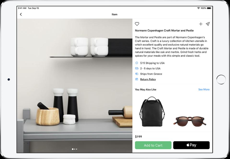 Lietotne, kurā redzama produkta lapa ar pogu Buy with ApplePay.
