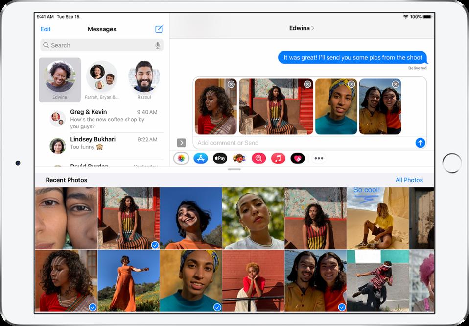Lietotnes Messages ekrāns ar lietotni Photos iMessage pāri ziņas logam. Pārlaiduma augšā ir fotoattēlu pārlūkošanas pogas.