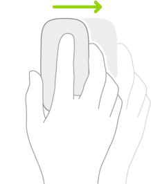 Ilustrasi yang menyimbolkan cara untuk menggunakan tetikus bagi melihat Slide Over.