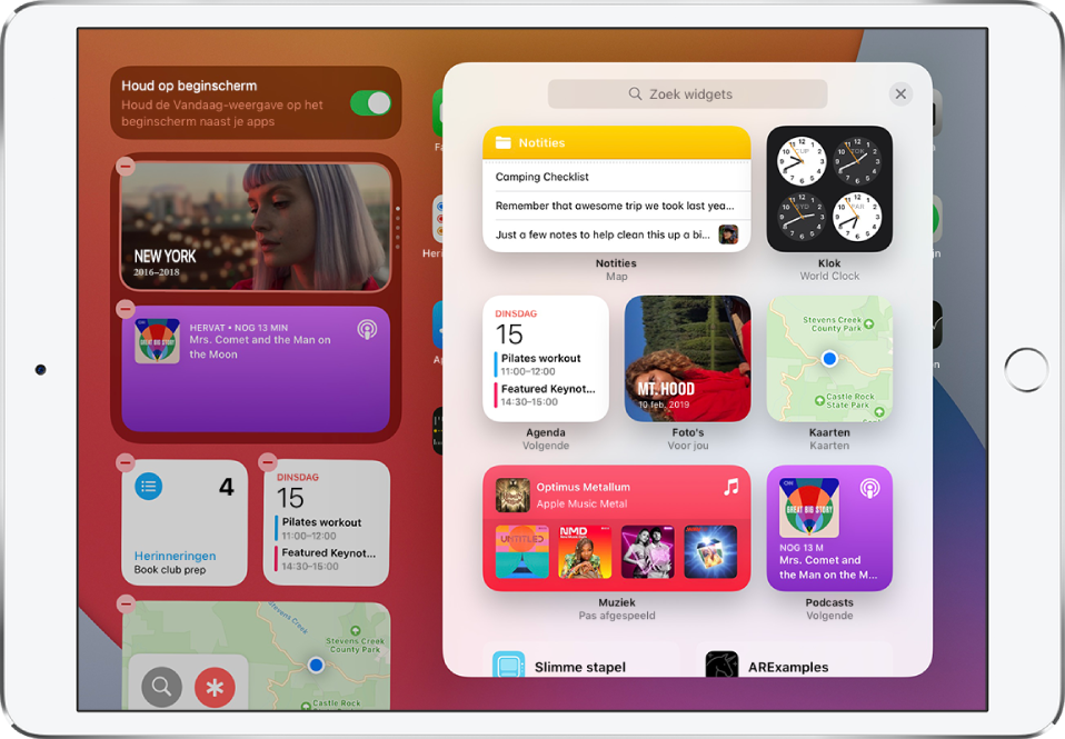 De widgetgalerij op de iPad met de volgende widgets: 'Notities', 'Klok', 'Agenda', 'Foto's', 'Kaarten', 'Muziek' en 'Podcasts'.