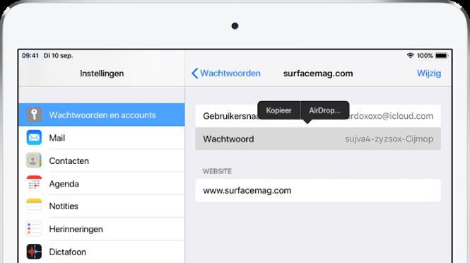 Het scherm 'Wachtwoorden' voor een website. Het wachtwoordgedeelte is geselecteerd en daarboven wordt een menu weergegeven met de onderdelen 'Kopieer' en 'AirDrop'.
