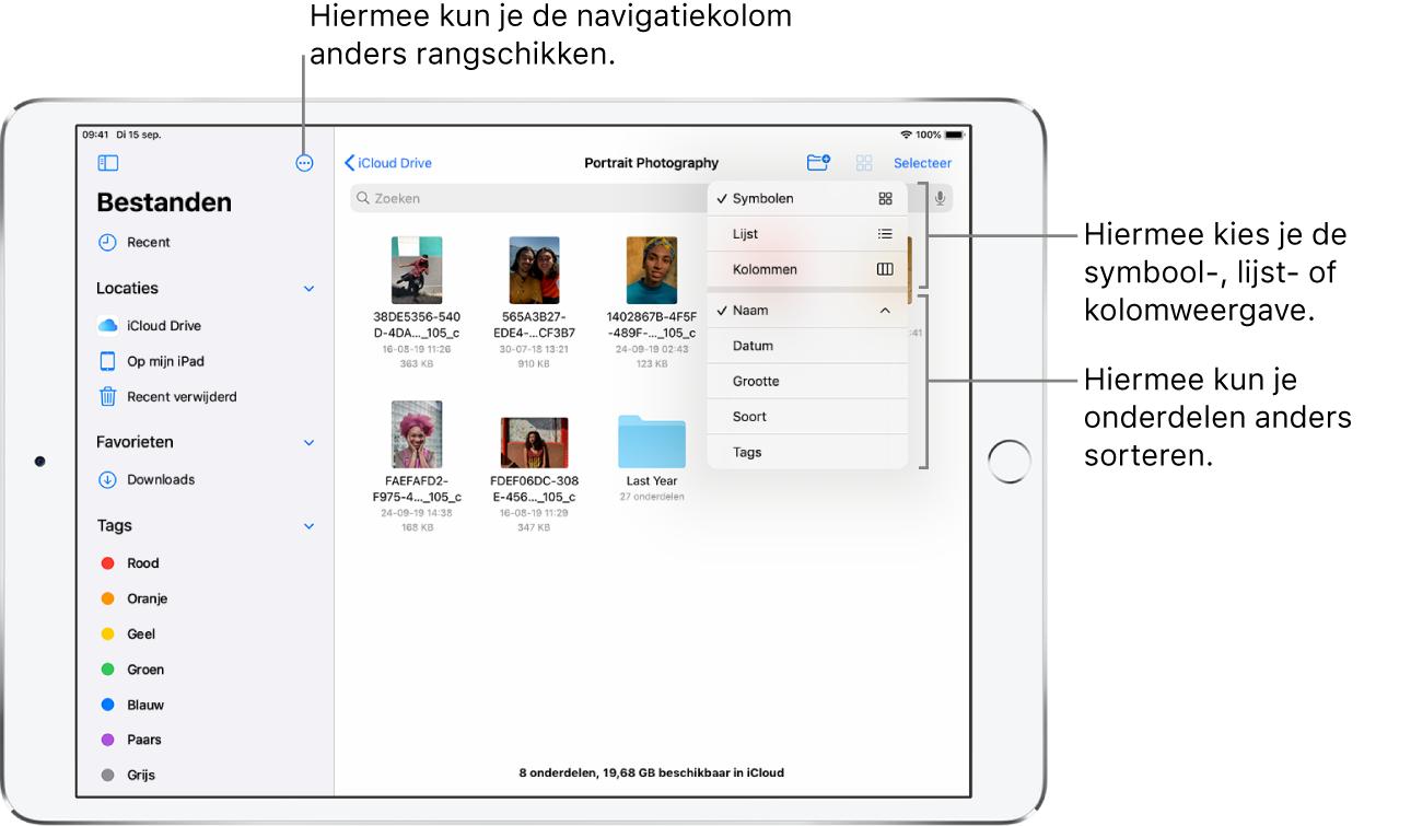 Een iCloud Drive-locatie met knoppen om de navigatiekolom in te delen, om de onderdelen op naam, datum, grootte of tags te sorteren en om tussen de lijst- en symboolweergave te schakelen.