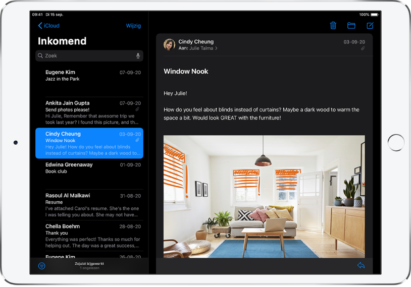 De Mail-app in de donkere modus.