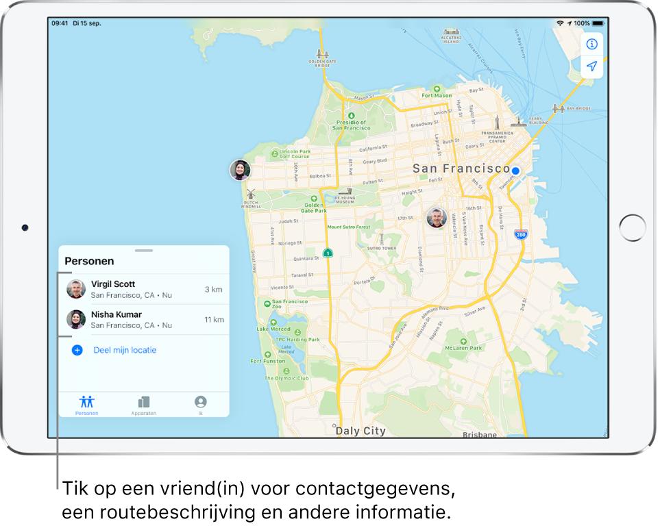 Het Zoekmijn-scherm waarin het tabblad 'Personen' is geopend. Er staan twee vrienden in de lijst 'Personen': Virgil Scott en Nisha Kumar. Hun locaties worden op een kaart van San Francisco weergegeven.