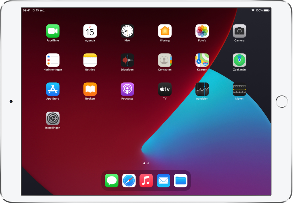 Het beginscherm van de iPad met de donkere modus ingeschakeld.