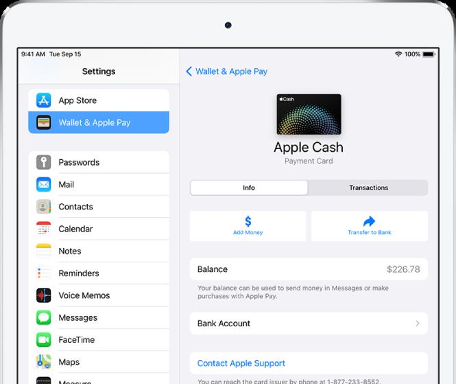Zaslon s podrobnostmi kartice Apple Cash, ki prikazuje stanje zgoraj desno.