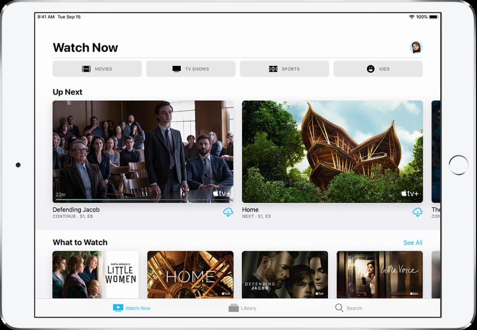 V zgornji vrstici zaslona »Watch Now« so gumbi »Movies«, »TV Shows«, »Sports« in »Kids«. V sredini zaslona nad vrstico »What to Watch« je vrstica »Up Next«. Na dnu so od leve proti desni zavihki »Watch Now«, »Library« in »Search«.