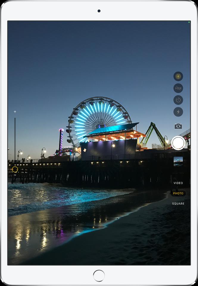 Slika na zaslonu aplikacije Camera, zajeta v iPaduPro. Gumb »Shutter« je na desni strani skupaj z gumbi za preklapljanje med kamerami ter izbiro načina fotografiranja.