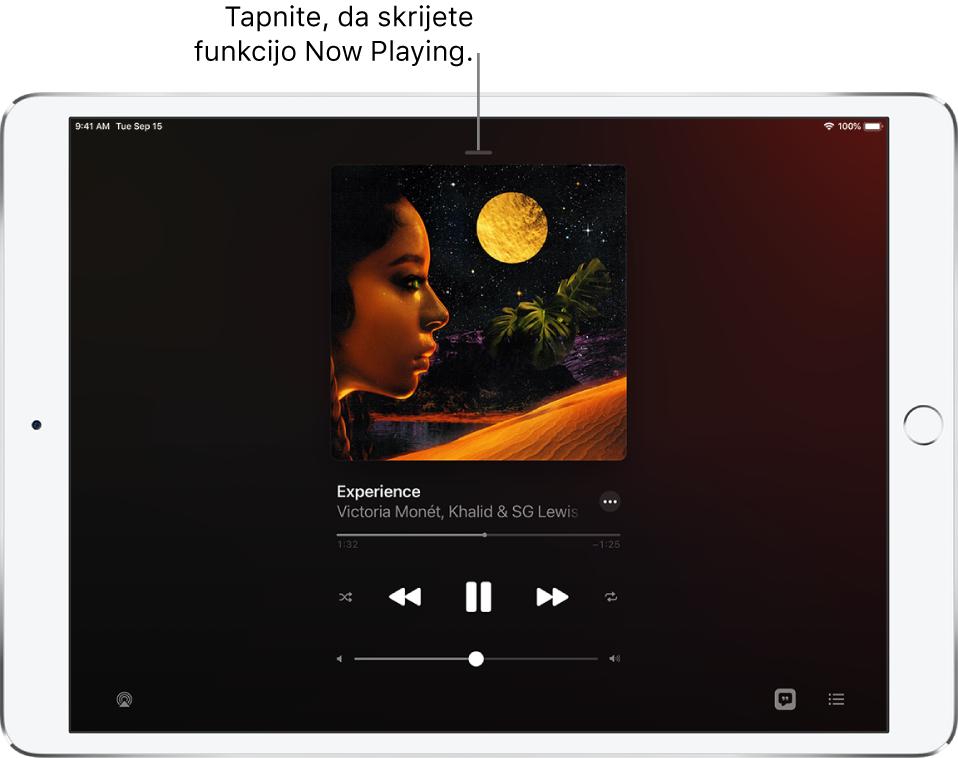 Zaslon »Now Playing« prikazuje naslovnico albuma. Spodaj so naslov pesmi, izvajalec, gumb »More«, drsnik v vrstici predvajanja, kontrolniki predvajanja, drsnik za glasnost ter gumbi »Lyrics«, »Playback Destination« in »Queue«. Gumb »Hide Now Playing« je na vrhu.