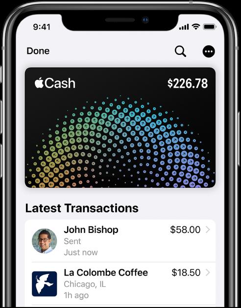 بطاقة AppleCash في Wallet، وتعرض زر المزيد في الزاوية العلوية اليسرى وأحدث المعاملات أسفل البطاقة.