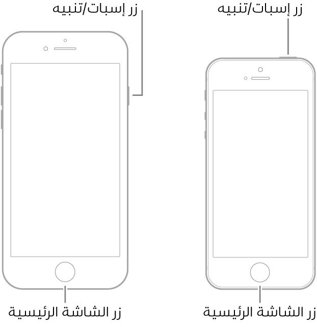 رسمان توضيحيان لطرازين من الـiPhone شاشتهما لأعلى. كل منهما لديه زر الشاشة الرئيسية بالقرب من أسفل الجهاز. يحتوي الطراز الموجود في أقصى اليمين على زر إسبات/تنبيه على الحافة اليمنى للجهاز بالقرب من الجزء العلوي، بينما يحتوي الطراز الموجود في أقصى اليسار على زر إسبات/تنبيه في الجزء العلوي للجهاز، بالقرب من الحافة اليمنى.