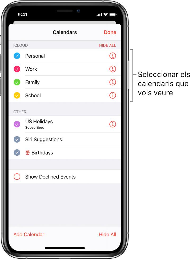 Llista de calendaris amb marques de selecció que indiquen quins calendaris estan actius El botó Fet per tancar la llista és a l'angle superior esquerre.