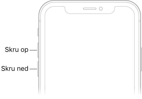Den øverste del af forsiden på iPhone med lydstyrkeknapperne øverst til venstre.