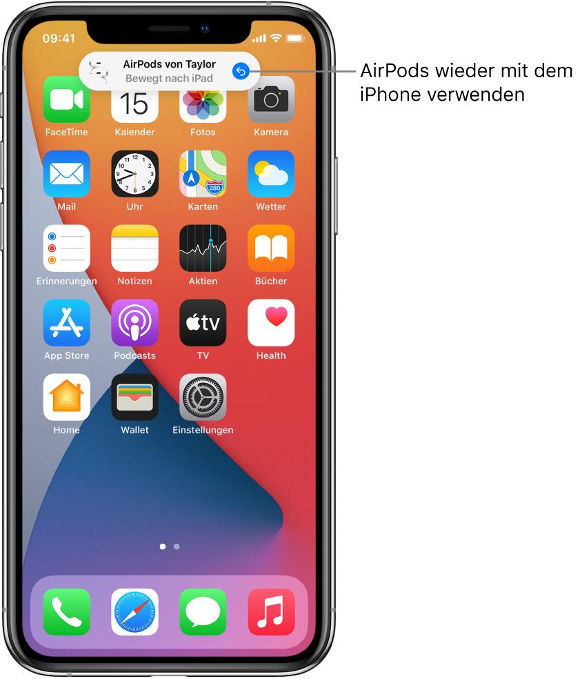 """Der Sperrbildschirm mit der Nachricht """"AirPodsPro von Taylor bewegt nach iPad"""" und einer Taste zum erneuten Verbinden der AirPods mit dem iPhone."""