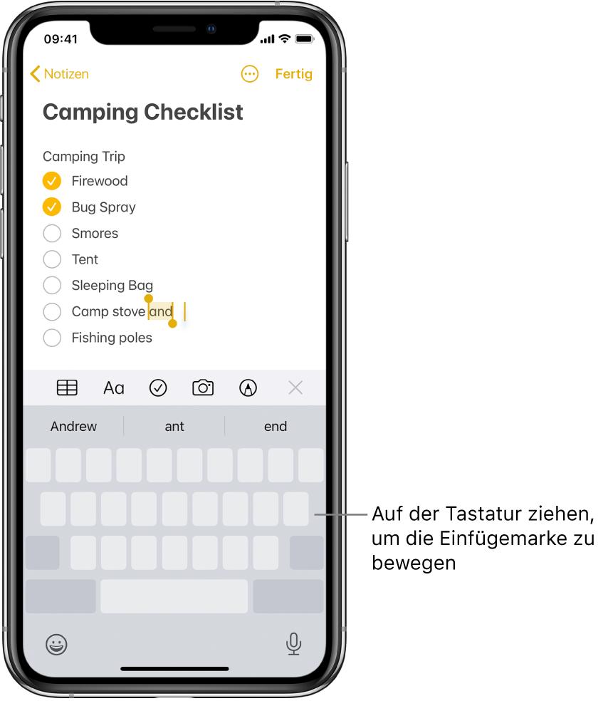 Eine Notiz, die nach dem Umwandeln der Tastatur in ein Trackpad bearbeitet wird. Die Tastatur wird grau dargestellt und gibt dadurch zu erkennen, dass sie jetzt als Trackpad fungiert.