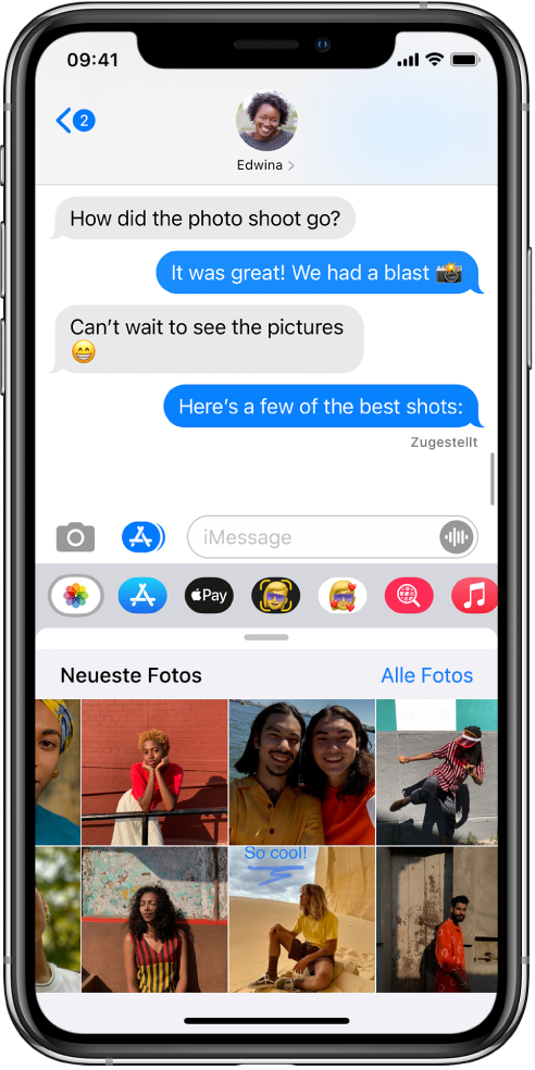 """Eine Konversation in der App """"Nachrichten"""" und darunter das Fenster der App """"Fotos"""" bei Verwendung von iMessage. In der App """"Fotos"""" sind bei Verwendung von iMessage oben von links nach rechts die Links zu """"Neueste Fotos"""" und zu """"Alle Fotos"""" zu sehen. Darunter sind die kürzlich aufgenommenen Fotos zu sehen, die durch Streichen nach links angezeigt werden können."""