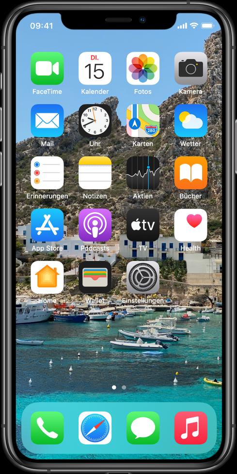 Der Home-Bildschirm mit personalisiertem Hintergrund.