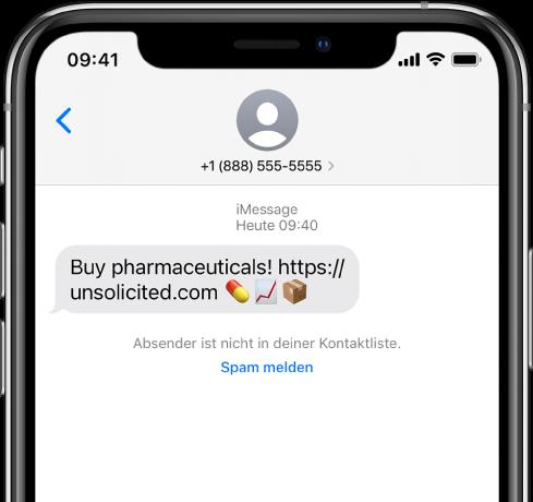 """Eine iMessage-Konversation mit einer Spam-Nachricht, unter der sich ein """"Spam melden""""-Link befindet."""