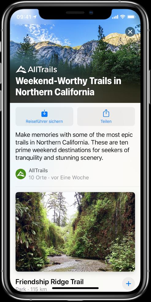 Ein Reiseführer mit zehn Wanderwegen in Nordkalifornien mit dem Friendship Ridge Trail an erster Stelle.