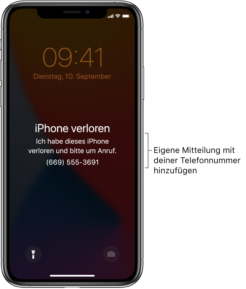 """Ein iPhone-Sperrbildschirm mit der Nachricht: """"iPhone verloren"""". Ich habe dieses iPhone verloren und bitte um Anruf. (669) 555-3691."""" Du kannst eine eigene Nachricht mit deiner Telefonnummer hinzufügen."""