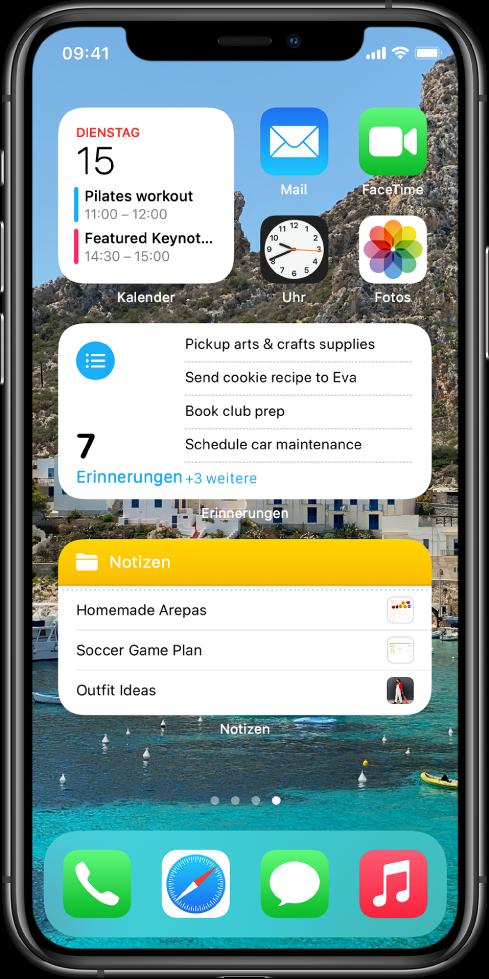 """Der Home-Bildschirm mit Produktivitäts-Apps und Widgets wie """"Kalender"""", """"Erinnerungen"""" und """"Notizen""""."""