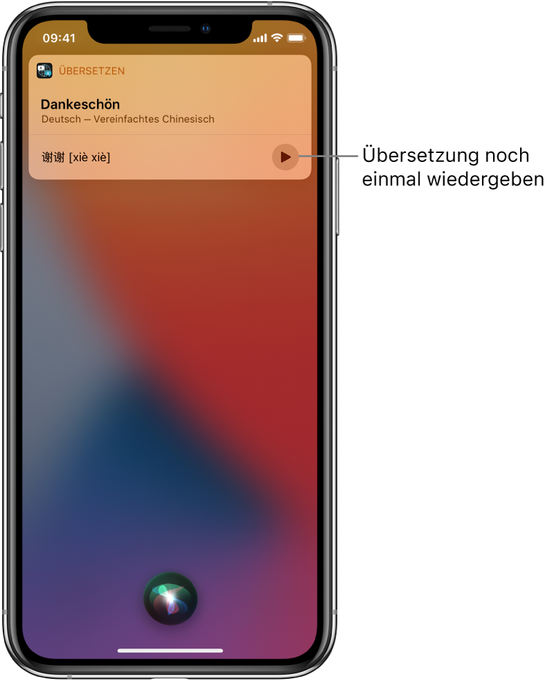 """Siri zeigt eine Übersetzung des englischen Ausdrucks """"thank you"""" in Mandarin an. Mit der Taste rechts von der Übersetzung kann die Audioausgabe der Übersetzung gestartet werden."""