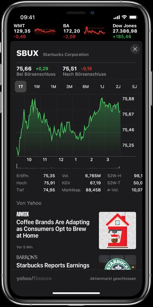 In der Mitte des Bildschirms befindet sich ein Diagramm mit der Entwicklung einer Aktie im Verlauf eines Tages. Über dem Diagramm sind Tasten zum Anzeigen der Entwicklung nach einem Tag, einer Woche, einem Monat, drei Monaten, sechs Monaten, einem Jahr, zwei Jahren oder fünf Jahren. Unter dem Diagramm befinden sich die Aktiendetails wie Eröffnungskurs, Höchst- und Tiefstand sowie Marktkapitalisierung. Unter dem Diagramm sind AppleNews-Artikel zur jeweiligen Aktie.