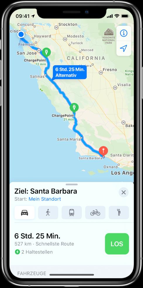 Ein Karte mit einer Fahrtroute von San Francisco nach Santa Barbara und zwei Ladestationen auf dem Weg.
