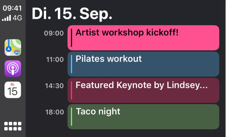 Eine Kalenderansicht in CarPlay, die 4 Ereignisse für Dienstag, den 15. September zeigt.