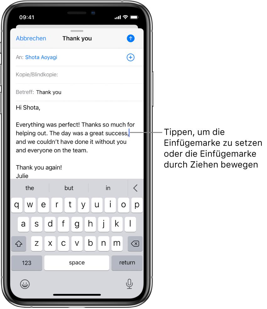 Ein E-Mail-Entwurf mit der Einfügemarke an der Stelle, an der der Text eingefügt wird.