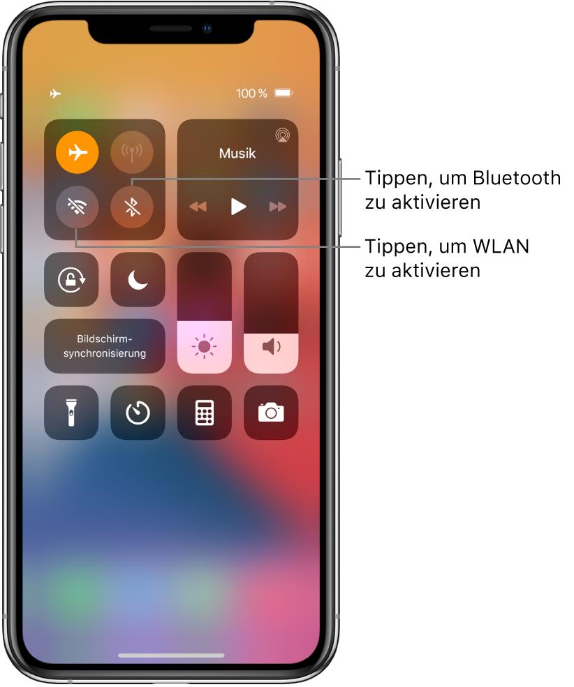 """Kontrollzentrum mit aktiviertem Flugmodus. Die Tasten zum Aktivieren von """"WLAN"""" und """"Bluetooth"""" befindet sich links oben auf dem Bildschirm."""