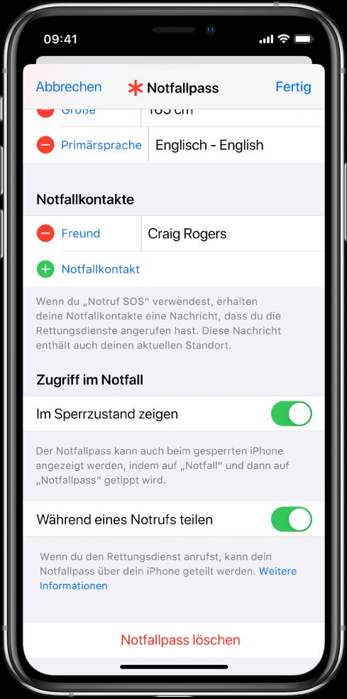 Ein Notfallpass-Bildschirm Unten befinden sich Optionen, mit denen dein Notfallpass angezeigt werden kann, wenn der iPhone-Bildschirm gesperrt ist und du einen Notruf absetzt.