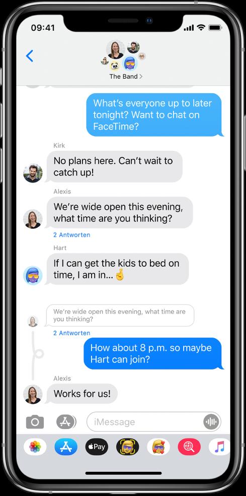 """Eine Gruppenkonversation in der App """"Nachrichten"""" mit Antworten, die direkt in den Originaltext eingefügt sind."""