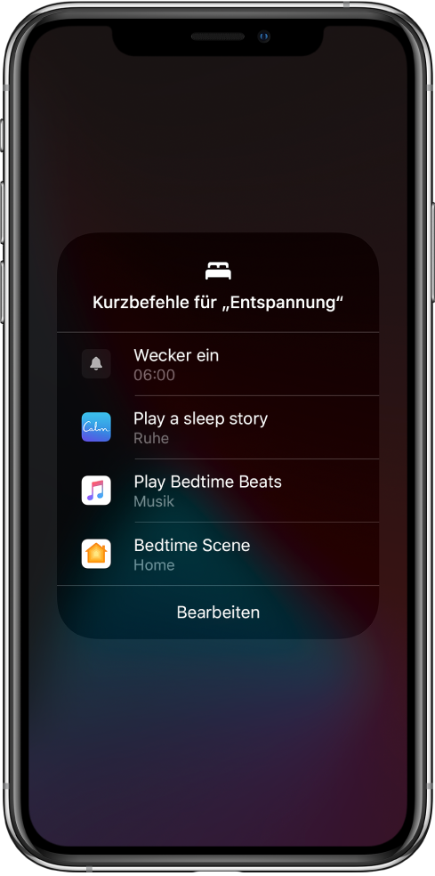 """Bildschirm mit Kurzbefehlen für """"Entspannung"""" zum Abspielen einer Schlafgeschichte, Wiedergeben von Einschlafmusik und Starten einer Home-Szene zum Schlafengehen."""