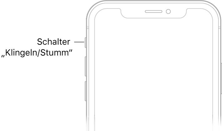 """Die obere Hälfte der iPhone-Vorderseite mit einem Hinweis zum Schalter """"Klingeln/Stumm""""."""