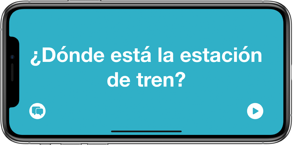 Το iPhone σε οριζόντιο προσανατολισμό όπου φαίνεται μια μεταφρασμένη φράση σε μεγάλη γραμματοσειρά.