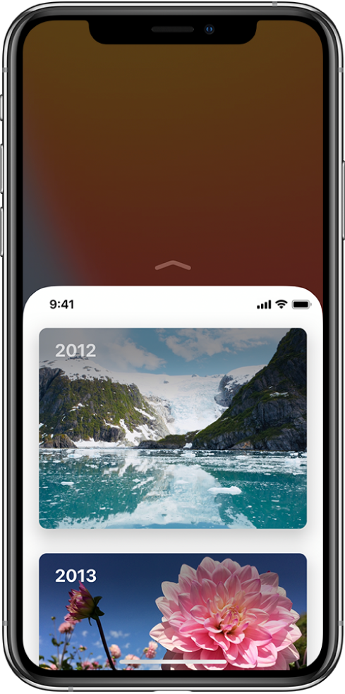 The iPhone screen with Reachability enabled. The top of the screen has moved down so it's within easy reach of your thumb.