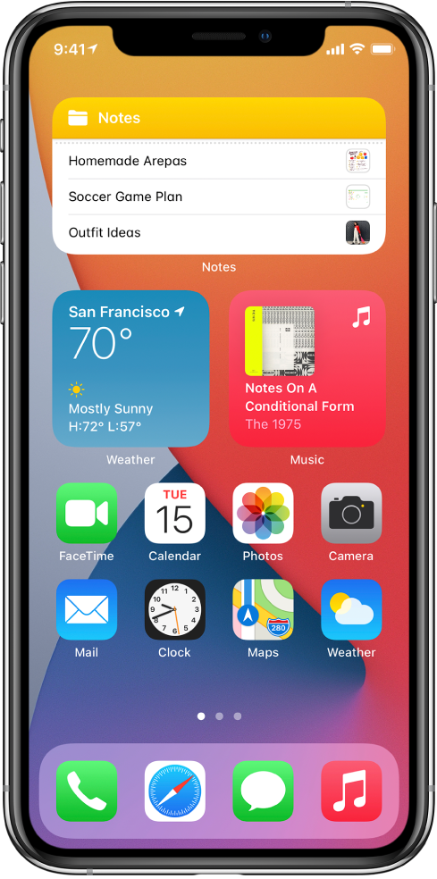 The iPhone Home Screen. In the top half of the screen are the Notes, Weather, and Music widgets. In the bottom half of the screen are apps.